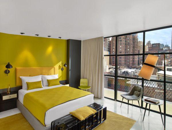 Yellow modern hotel room.
