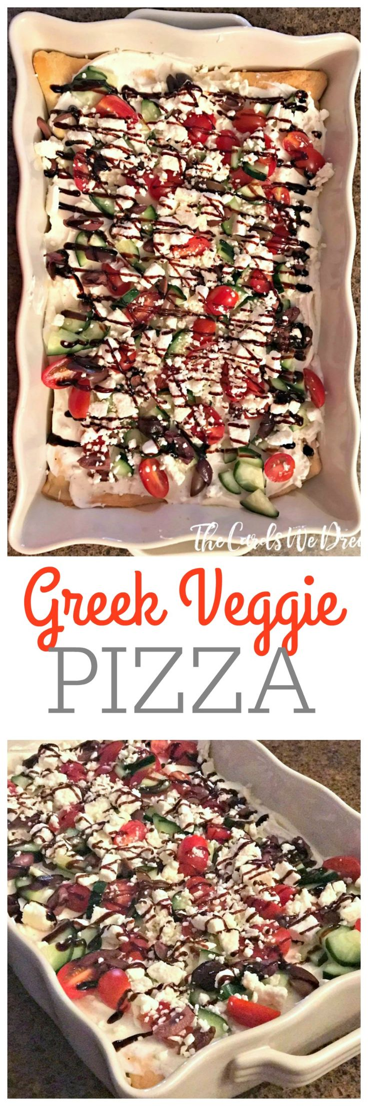 Need an easy appetizer idea? This Greek Veggie Pizza is full of flavor with loads of fresh veggies on top! Serve cold and wow your guests.
