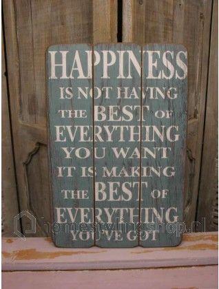 Houten-tekstbord-Happiness-45-cm