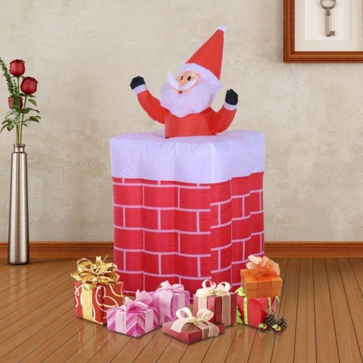 Inflatable Outdoor Christmas Decoration Winter Xmass Santa Claus LED Chimney #InflatableOutdoorChristmasDecoration