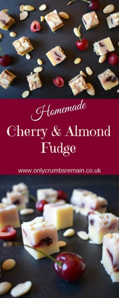 Homemade Cherry & Almond Fudge, with flavours reminiscent of Bakewell Tart