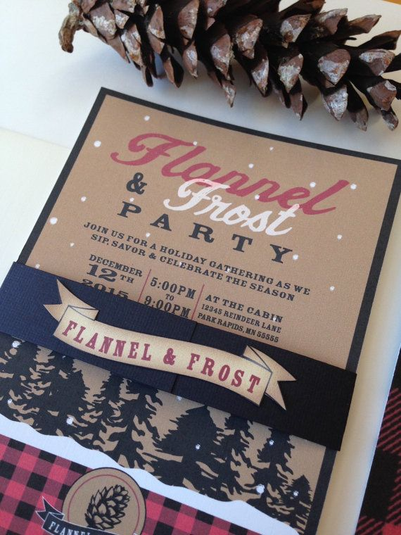 Digital file Plaid or Flannel Invitation // Flannel and Frost Invitation Set// Holiday Party Invite // Woodsy Invitation