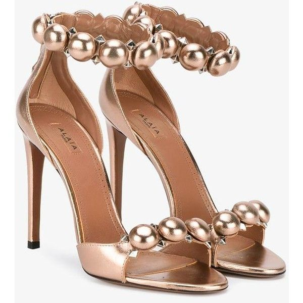 Alaïa Alaïa Studded Sandals (3.680 BRL) ❤ liked on Polyvore featuring shoes, sandals, bronze shoes, open toe sandals, studded shoes, stiletto shoes and heels stilettos