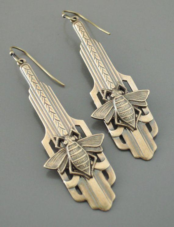 Art Deco Earrings - Honey Bee Earrings-  Vintage Earrings - Brass Earrings - handmade jewelry