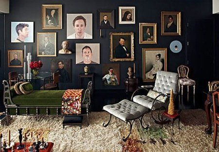 """From our article, """"17 WAYS TO HANG ART.""""Collection of portraits in different styles.... amazing!"""