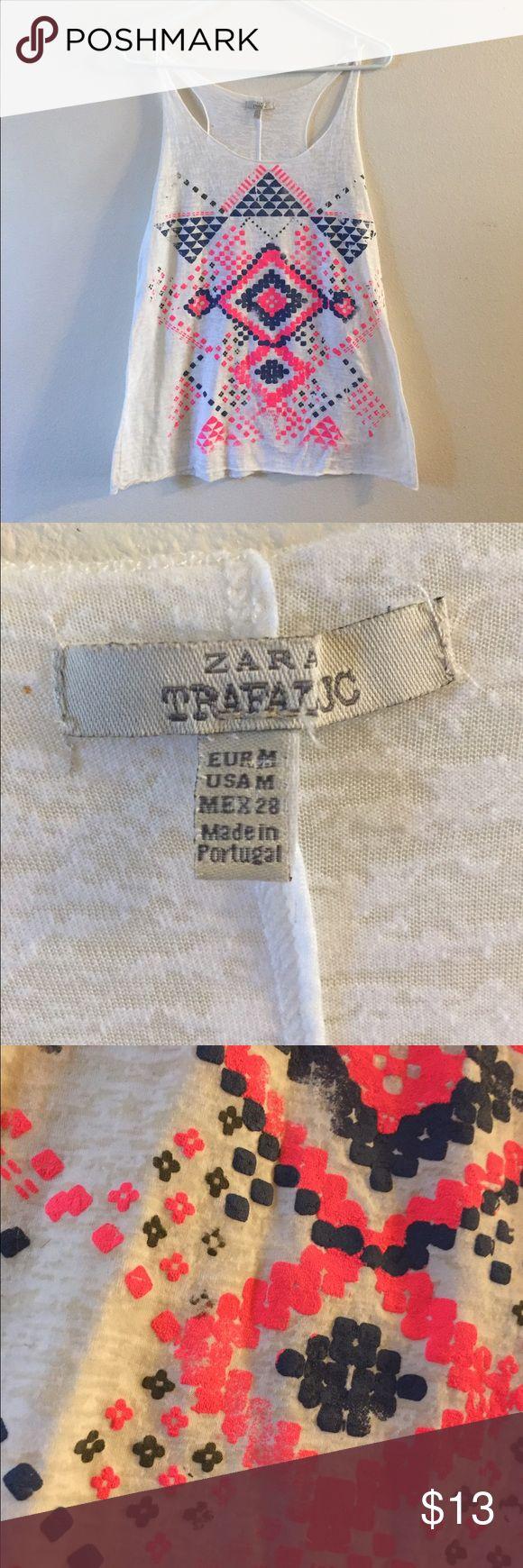 Zara Bright Tribal Tank Top Size M Size M Tank Top Tribal pattern Zara Tops Tank Tops