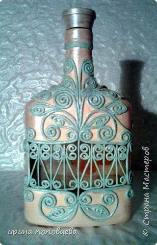 Декор предметов Аппликация из скрученных жгутиков Декупаж Пейп-бутылочка Яблонька Салфетки фото 1