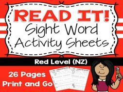26 Year One Red Level Sight Words based on the New Zealand Curriculum High Frequency Sight Words. Use this as part of your Word Work Daily 5 activities, or as an addition to your writing program. A great bonus – NO PREP! Just PRINT and GO!<br /> <br /> Cl...