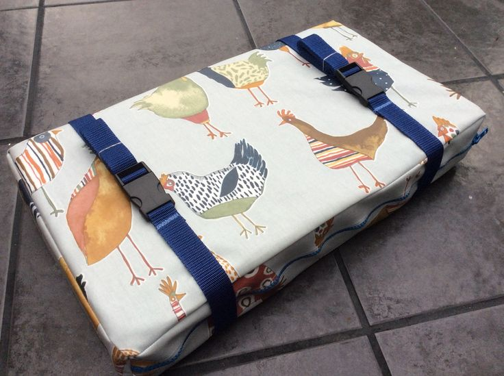 Bespoke,Handmade Funky Chickens Oil Cloth Gig Rowing Boat Seat Pad.