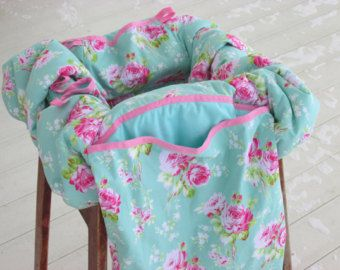 Restaurant High Chair Cover // Shopping Cart Cover - Shabby Chic - Sadies Dance Card Choice of Fabrics  w/ Built-In Bag - Pink Blue Jade