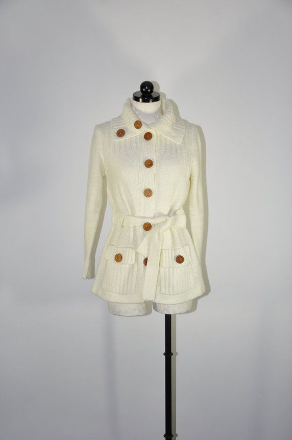 70s ivory boucle knit cardigan / vintage acrylic chunky knit sweater coat / Winter Knit cardigan