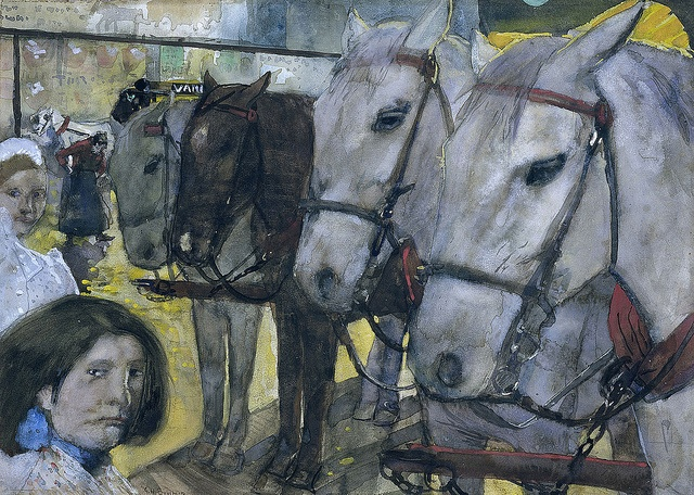 George Heidrik Breitner - Tram Horses on Dam Square in Amsterdam
