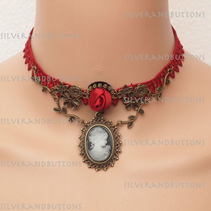 Victorian Gothic Style Red Lace Cameo Choker Necklace