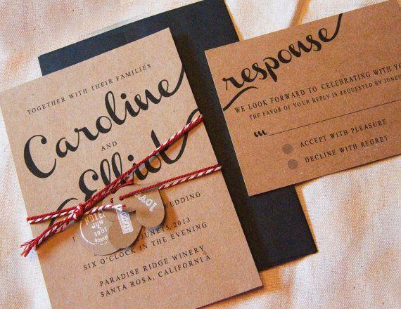 rustic wedding invitation kraft wedding by aimerweddings on Etsy, $2.00