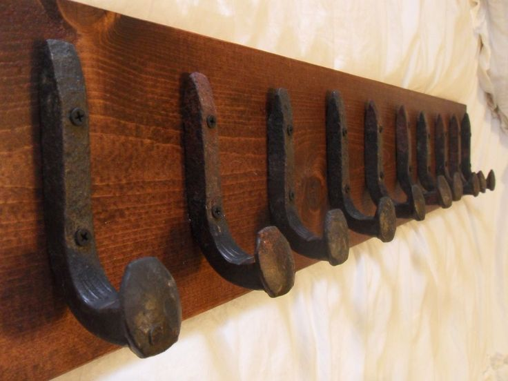 "10 Sealed Hooks Antique Railroad Spike Art ""Red Mahogany"" Vintage Coat Rack"