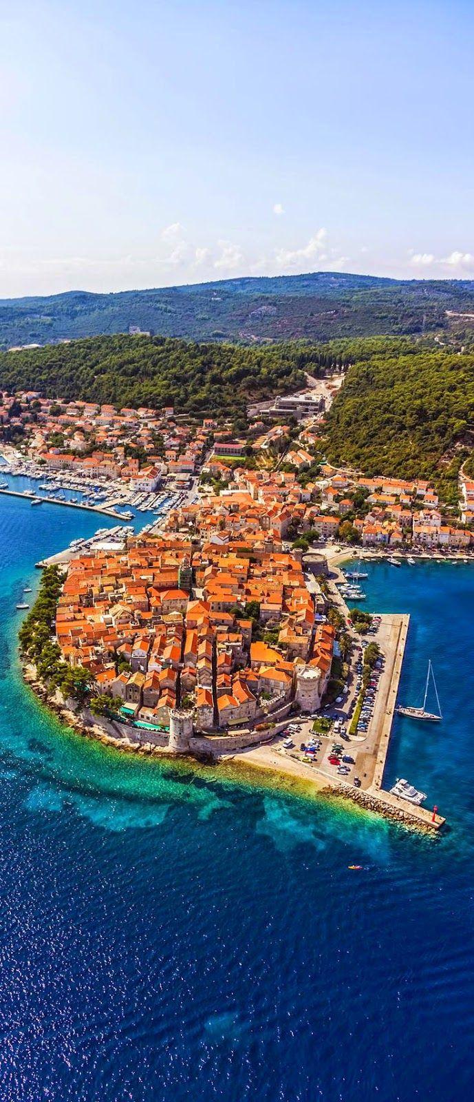 Amazing View of Korcula old town. Dubrovnik archipelago - Elaphites islands, Croatia
