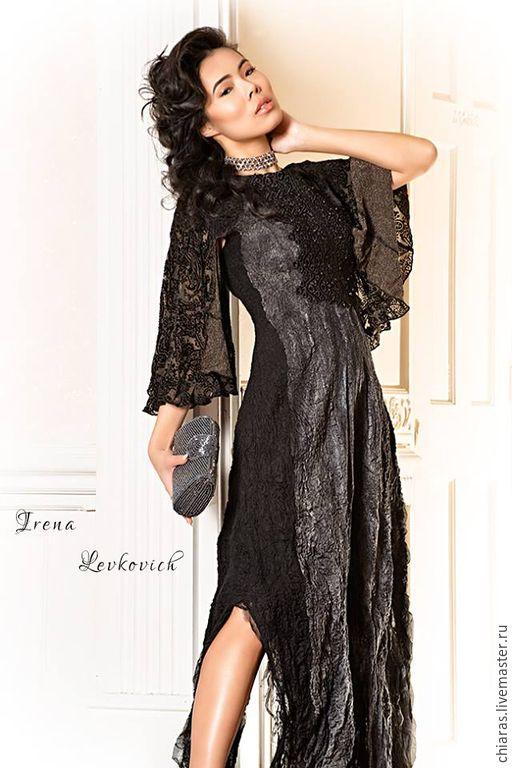 """Купить Платье ручной работы из шелка и шерсти """"Элеганс"""" - черный, вечернее черное, черное макси"""