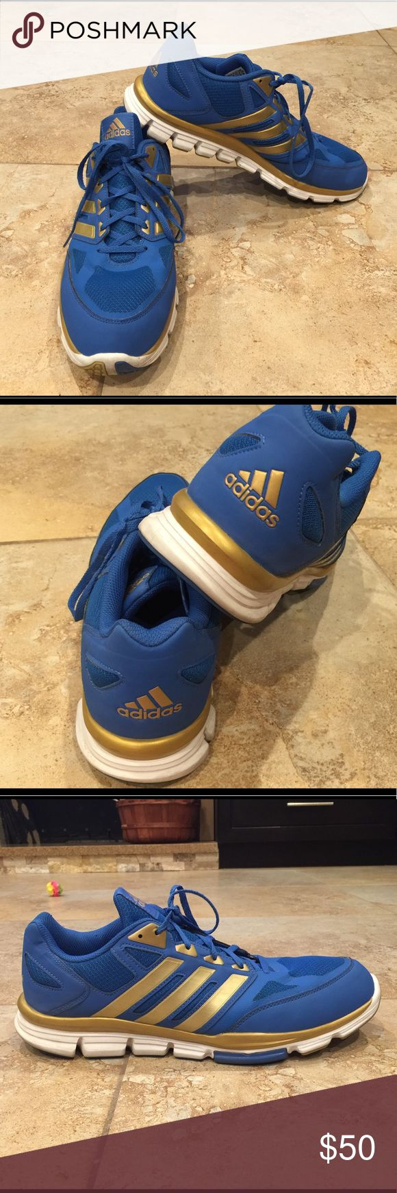 Adidas man's shoe size 14 Used ones perfect condition blue and gold color. adidas Shoes Athletic Shoes