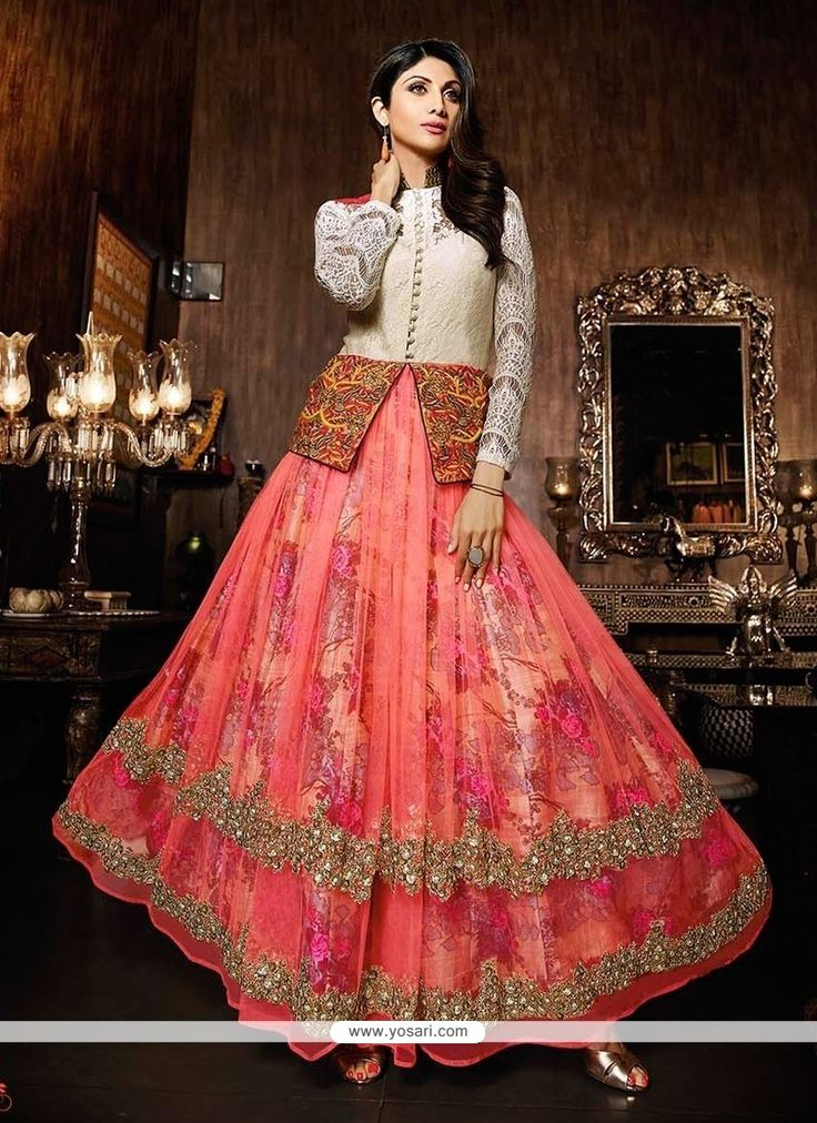 Shilpa Shetty Net Embroidered Work Anarkali Salwar Suit Model: YOS3653