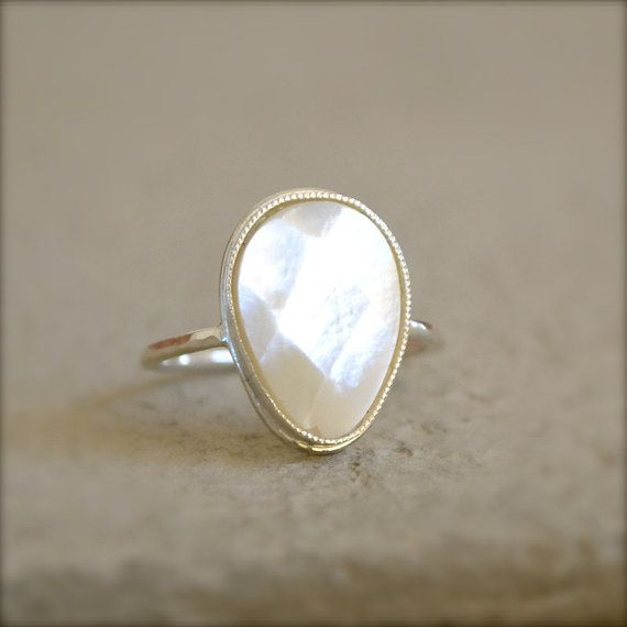Pear Shaped Mother Of Pearl Sterling Silver Ring, Made To Order on Etsy, $58.00