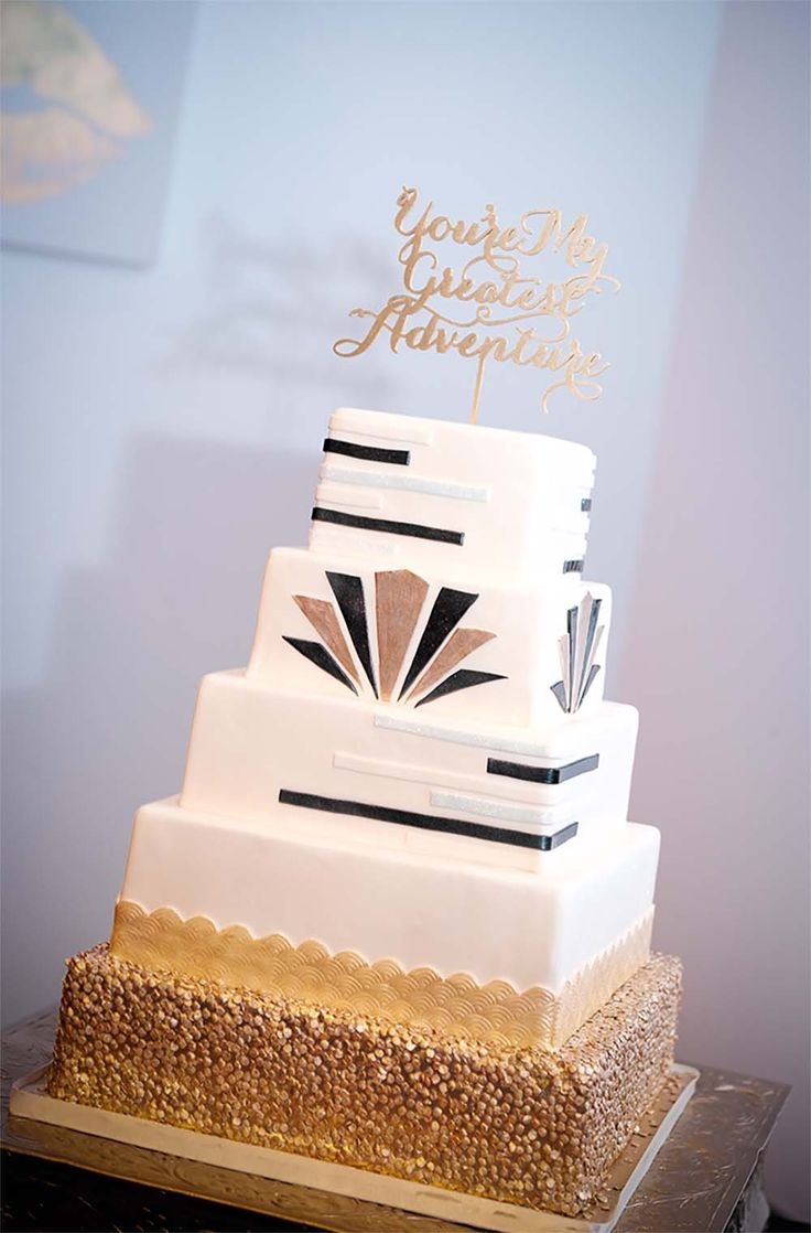 Custom 5 Tier Art Deco Wedding Cake
