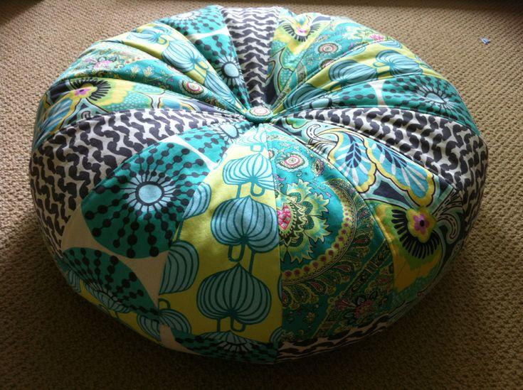 "18"" Honey Bun Pouf Bean Bag Floor Pillow - Amy Butler Lark fabrics. $80.00, via Etsy."