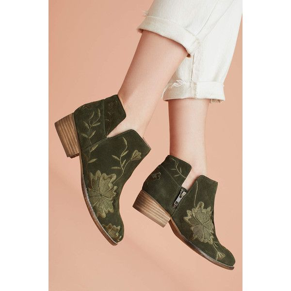 Seychelles Lantern Embroidered Booties ($148) ❤ liked on Polyvore featuring shoes, boots, ankle booties, khaki, flat heel booties, seychelles, seychelles boots, flat pump shoes and flats boots