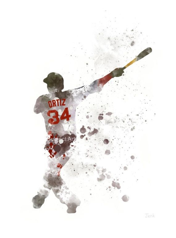 David Ortiz ART PRINT illustration Boston Red Sox by SubjectArt