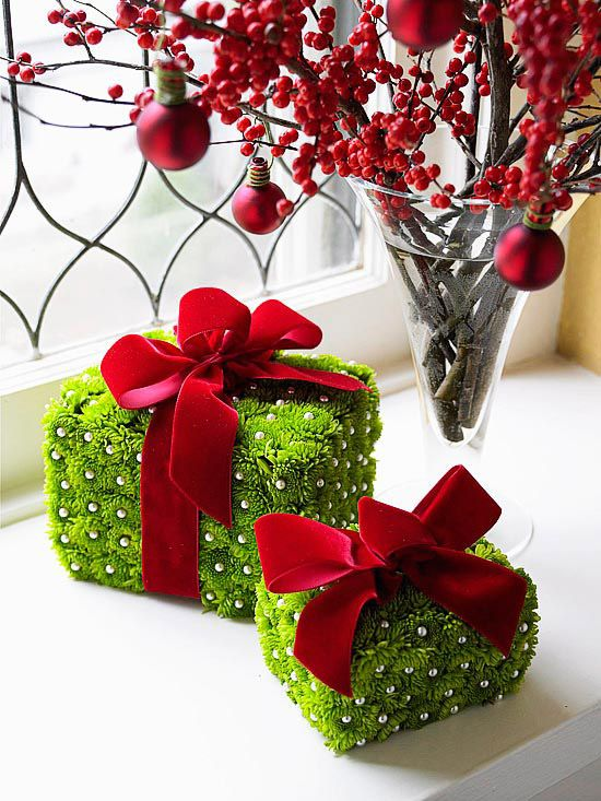 Pretty Christmas Packages - floral foam, chrysanthemum and push pins