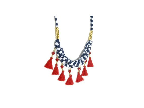 Check out this item in my Etsy shop https://www.etsy.com/il-en/listing/259911053/fabric-necklace-with-tassels-red-blue