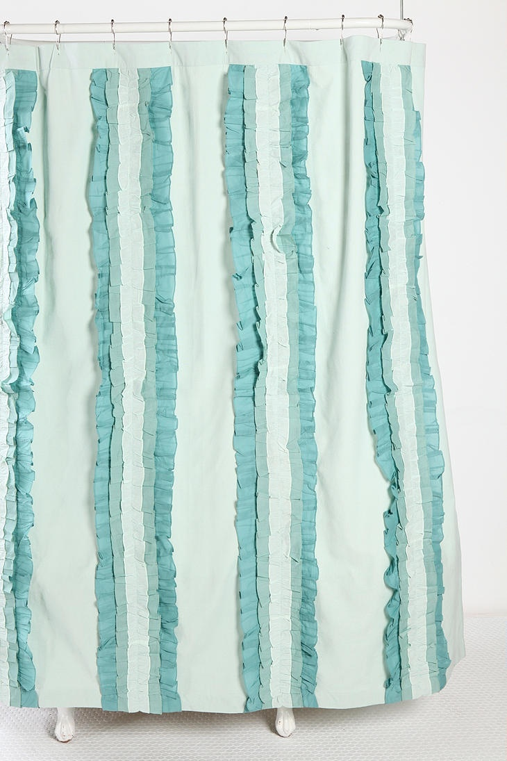 Blue ruffled shower curtains - Overview Classic Woven Cotton Shower Curtain Vertical Rows Of Tonal Ruffles Grommets At The Top Shower Curtain Liner Sold Separately Content