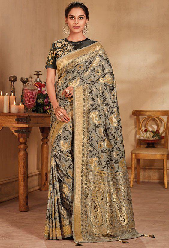 5cbed7bdc7041b Grey color silk Indian wedding saree 926