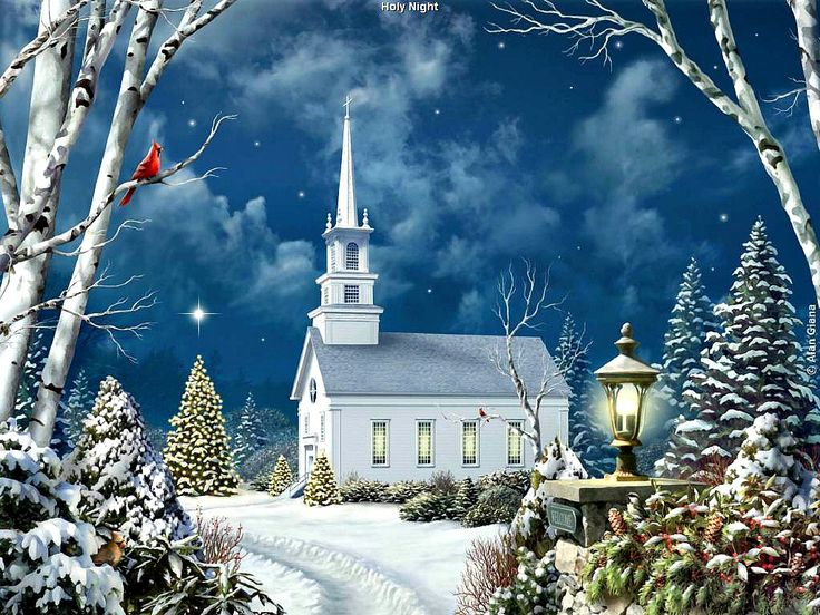 snowy church and xmas - photo #21