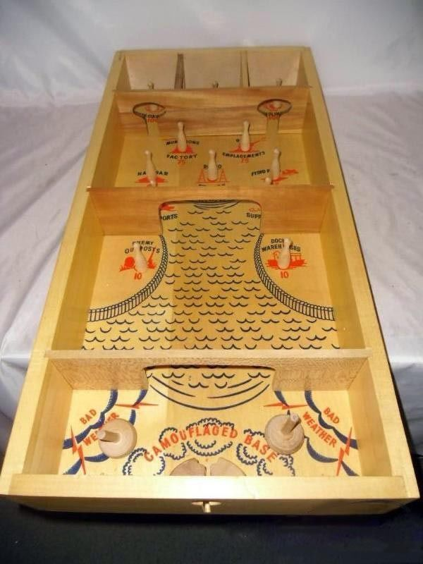 Vintage Carrom Commando Skittles War Game Wooden Table Top