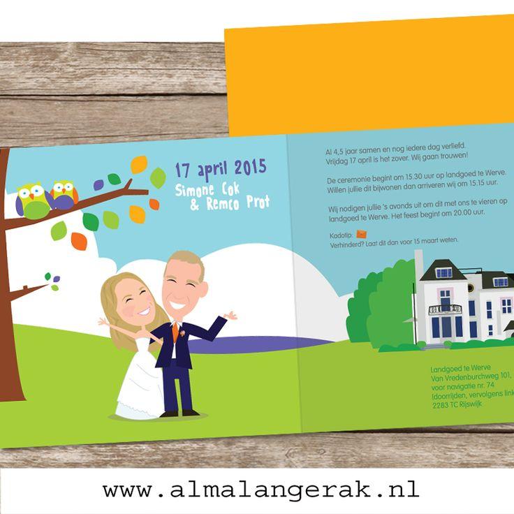 2 maanden geleden trouwden Remco en Simone. Op basis van een #geboortekaartje met #uilen van mijn website maakte ik #trouwkaarten. De kleuren zijn aangepast aan het #kleurthema van de #trouwdag. Verder staat op de #achtergrond #Landgoed te Werve, waar het #trouwfeest gaat plaatsvinden.  #landhuis #kasteel #uiltjes #trouwkaart #laten #tekenen #cartoon