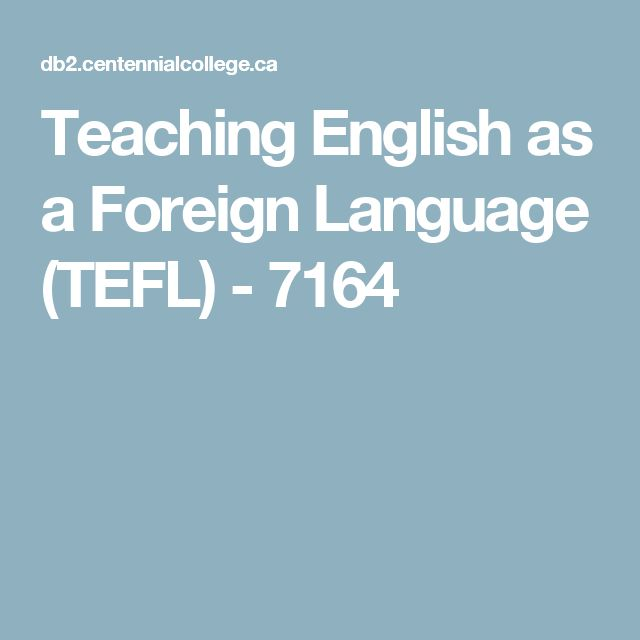 Teaching English as a Foreign Language (TEFL) - 7164