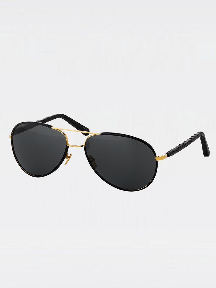 LINDA FARROW , Siyah Yılan Derisi Güneş Gözlüğü #shopigo#shopigono17#accessories#womenswear#menswear#fashion#sunglasses#style#colourful