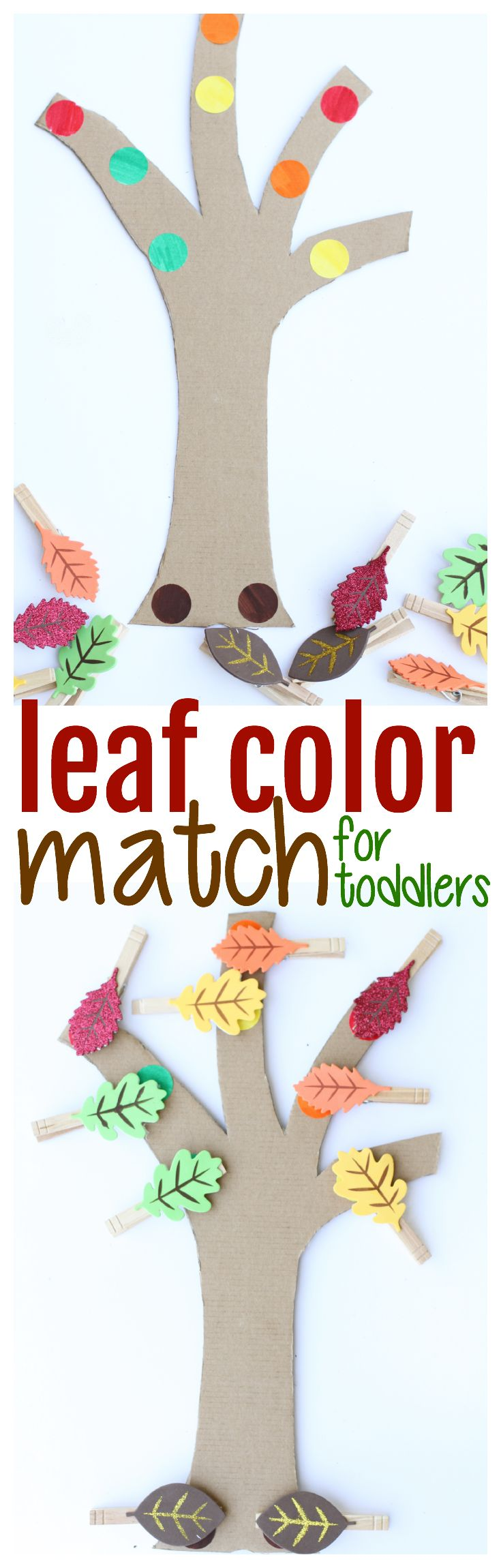 Leaf Color Match for Toddlers:  The perfect activity for the fall that blends color recognition and fine motor practice!