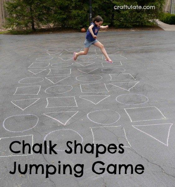 Chalk Shapes Jumping Game - fantastic gross motor fun!