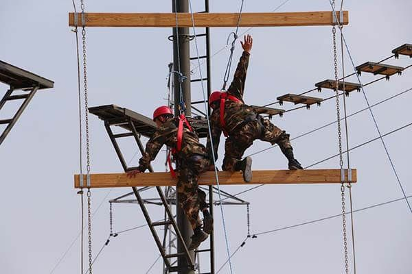 Military Training High Ropes Obstacle Course Finished Construction Military Training Train Construction