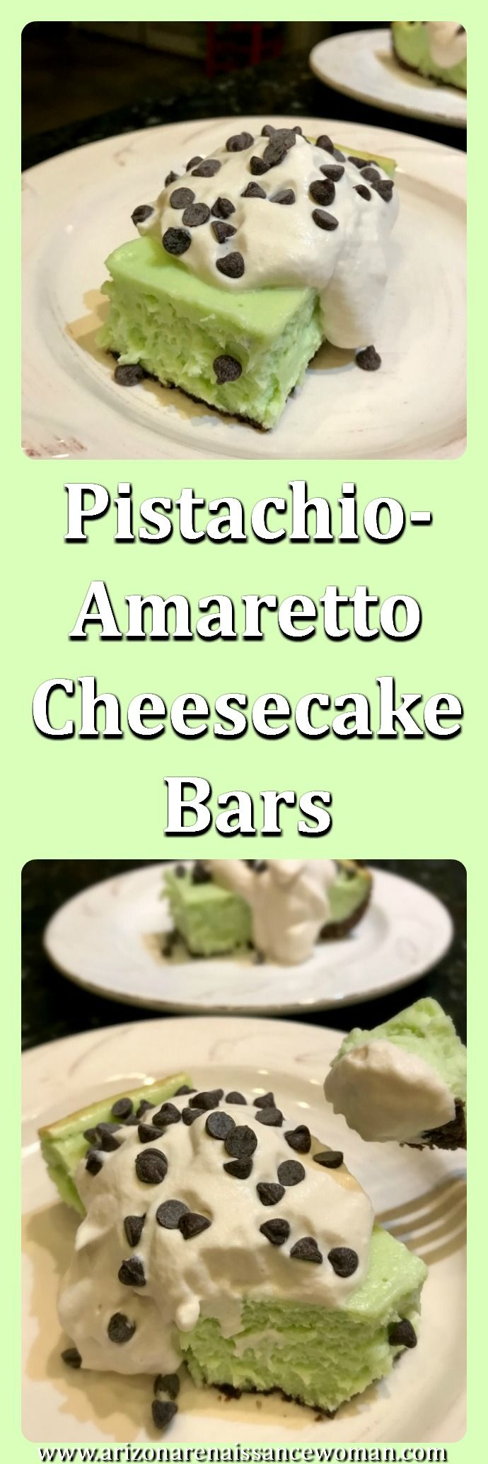 Pistachio Amaretto Cheesecake Bars - Try these delicious, easy-to-cut bars with the delicious flavors of cheesecake, pistachio pudding, and amaretto!