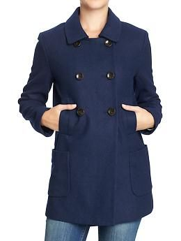 Women's Double-Breasted Wool-Blend Coats | Old Navy