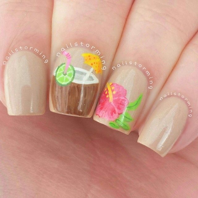 Coconut drink and Hawaiian flower nail art design with tan base color. - Best 25+ Beach Nails Ideas On Pinterest Beach Nail Designs