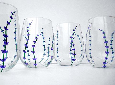 Lavender Stemless Wine Glasses. Hand Painted. Available from MaryElizabethArts.com