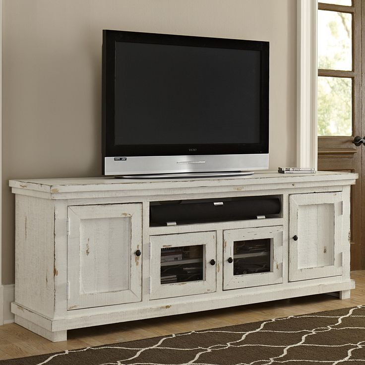 southport entertainment center distressed white 2