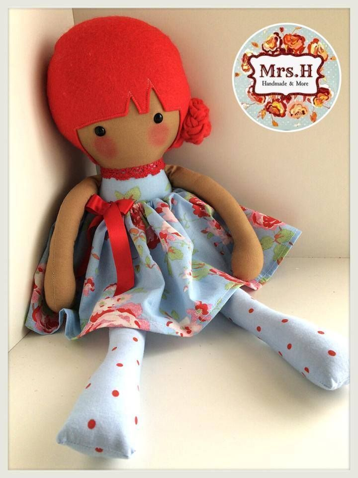 """With her bright red hair and blue skirt which is removable. She is 19"""" tall, CE marked and suitable from birth.Made from quality cotton fabrics, 100% wool felt."""