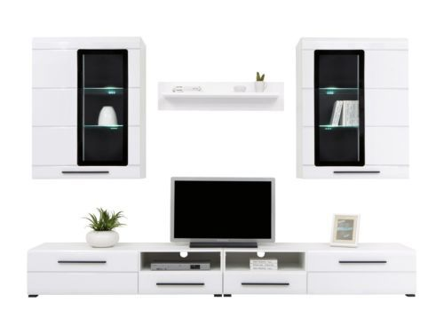 Modern Argus Living Room Furniture Set White Gloss LED Wall Unit TV Cabinet