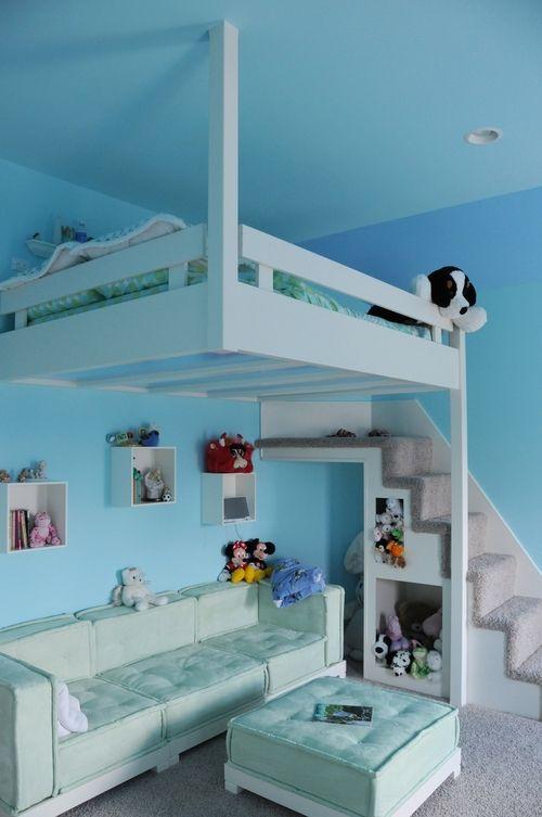 Beautiful kids room with custom made bunk beds.