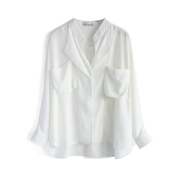 Chicwish Neutral Batwing Crepe Shirt in White (630 MXN) ❤ liked on Polyvore featuring tops, camisas, white, tiered top, shirts & tops, deep v neck top, white tops and white batwing shirt