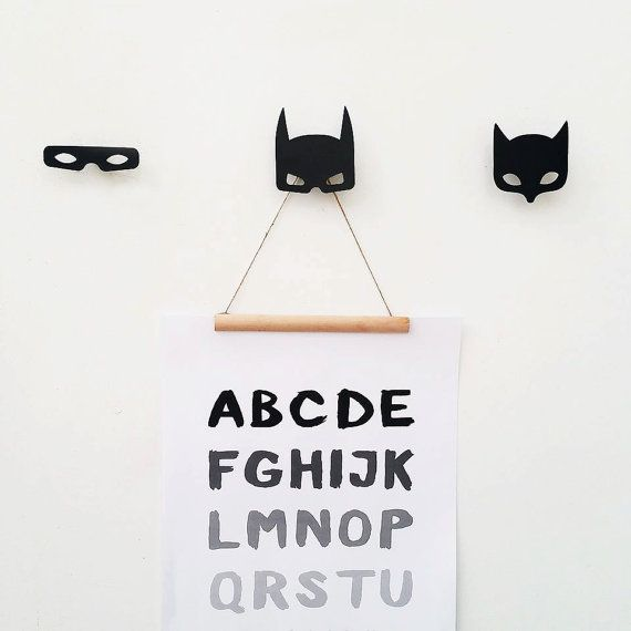 Batman Wall Hook / Super Hero Decor / Nursery Wall Decor / Poster Hanger / Monochrome kids room  Single Batman mask Wall Hook.  (For set of three super heroes press here: http://etsy.me/1UxNvZT)  Designed by Nastya Faybish, made by Metalya (this is a handmade metal wall hook.) Details about Metalyas batman wall hook: ► Dimensions: 8.5 *9 cm 3.4 * 3.5 inch  ► Can hold up to 5kg. - perfect to hang posters , prints, mirror, cloth and more. ► Material: metal  ► Colors: Black ► This wall hooks…